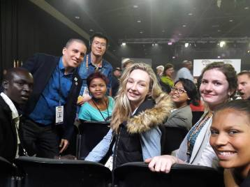 Opening of CITES CoP 17 (from left): Joaquin De La Torre, Mingyu Liu, Xolile Myira, Olivia Taylor, Chingchi Daru, Olya Esipova & Megan Davis Reed